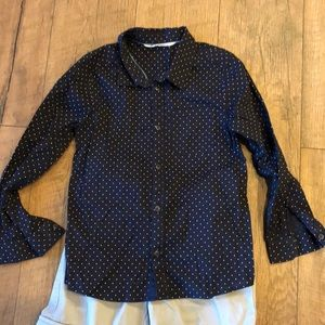 H&M Navy and white polkadot button down. Like new